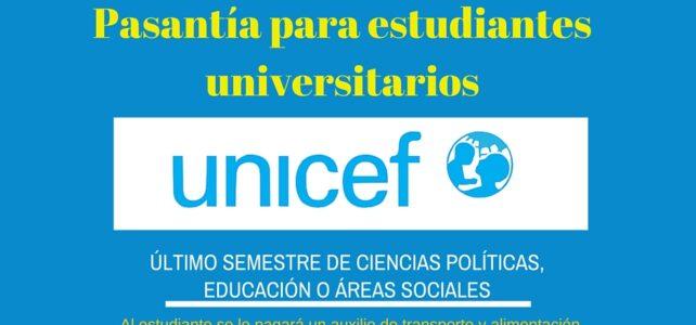 UNICEF ofrece pasantía para Estudiante universitario de último semestre de Ciencias Políticas, Educación o áreas sociales